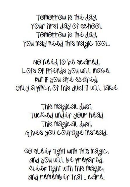 picture regarding Jitter Glitter Poem Printable named Remaining working day of faculty poem for pupils