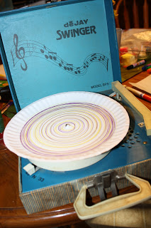 paper plate craft on small old record player