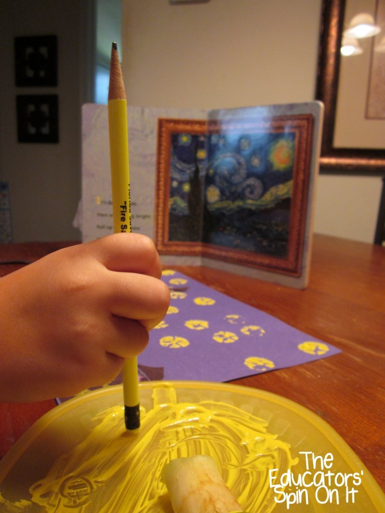 making stars with pencil eraser for Starry Night by Van Gogh