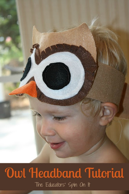Super cute owl costume headband for kids to make and wear. Owl halloween, owl dress up, owl pretend play.