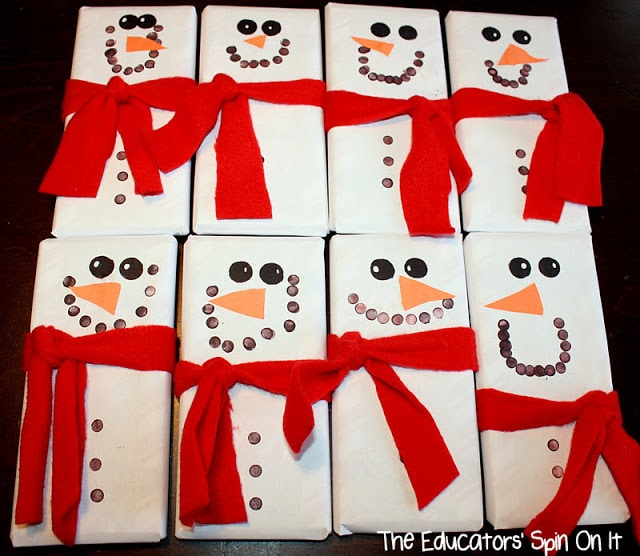 Create snowman chocolate bar for holiday gifts