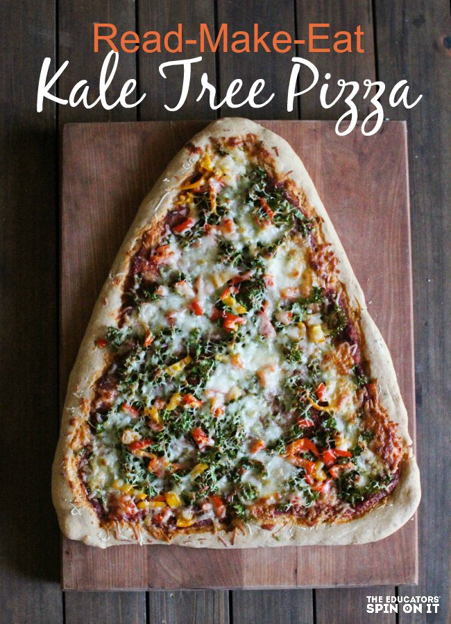 Kale Pizza Christmas Tree Recipe: Read a Christmas Tree Book with your kids, then head to the kitchen to make this healthy dinner together! Kids that cook with books.
