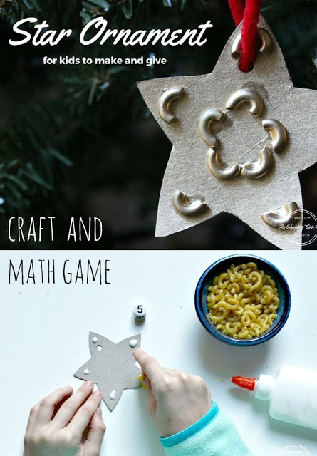 handmade star ornament with noodles for Christmas