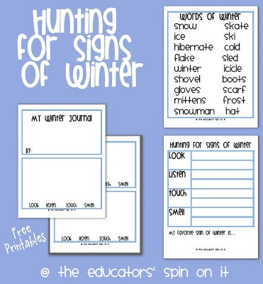 Winter Journal and Observation Sheet Printables