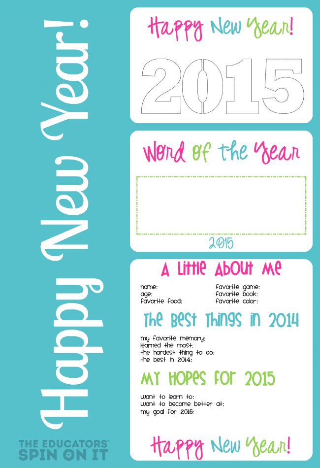 New Year's Interview and Printables from the Educators' Spin On It