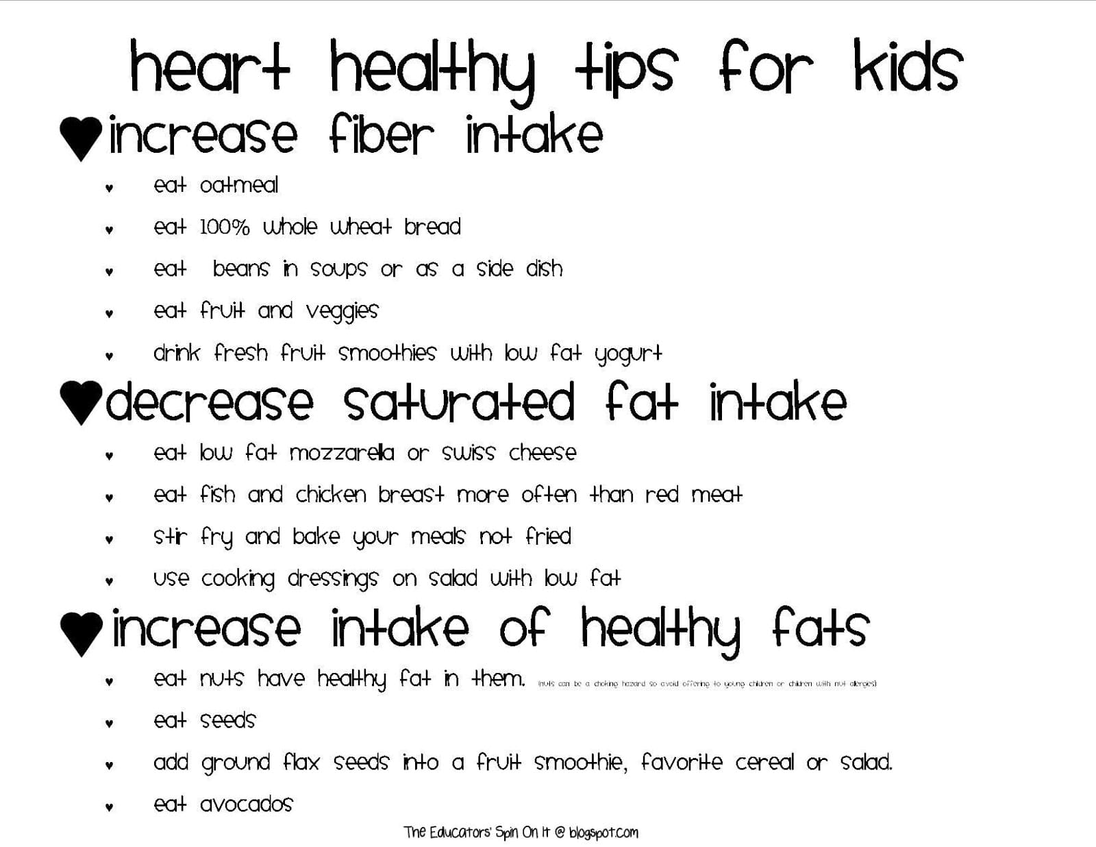 Printables For Heart Healthy Activities From Nourish Interactive