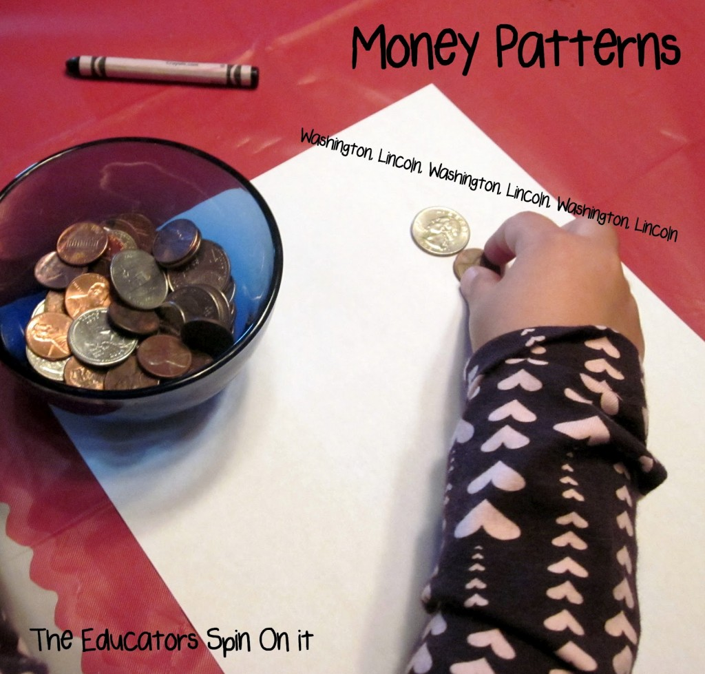 Making patterns with coins for presidents day with kids