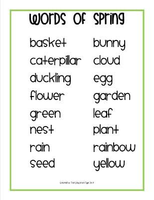 Printable Spring Words