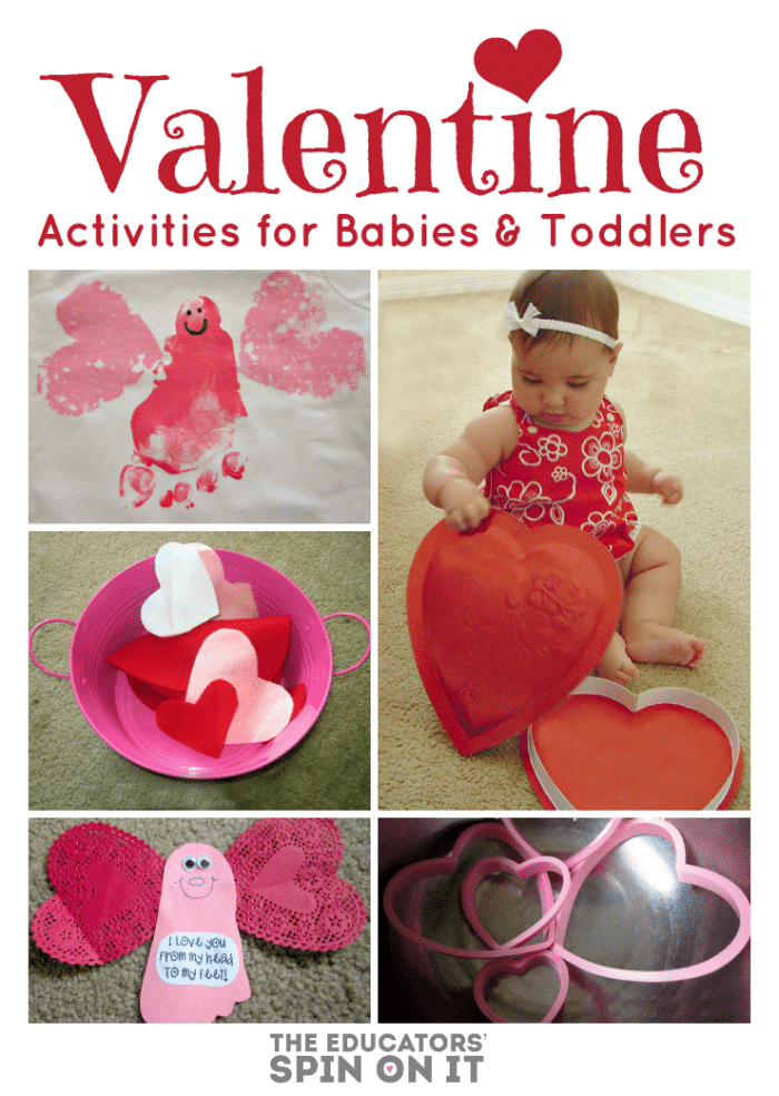 Heart themed activities with a baby exploring a heart shaped chocolate box