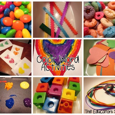 Color Word Activities with Hearts