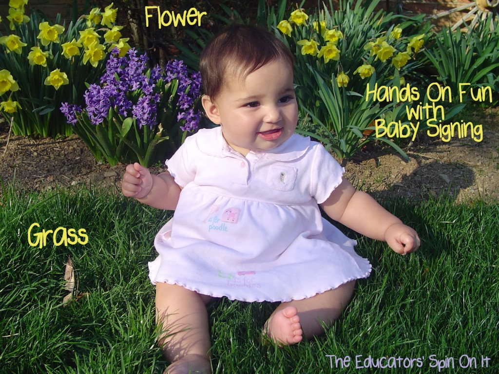 baby sitting in grass exploring spring with green grass and yellow and purple flowers