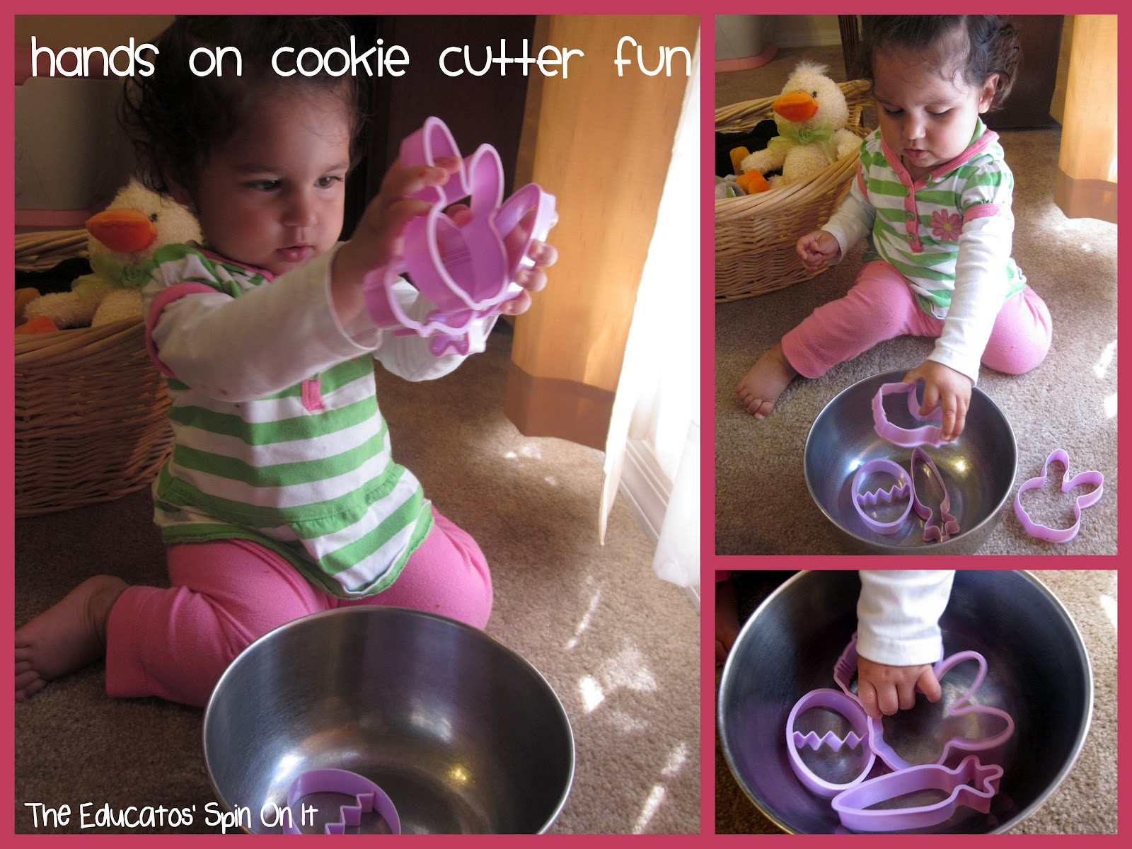 toddler playing with easter themed cookie cutters in metal bowl