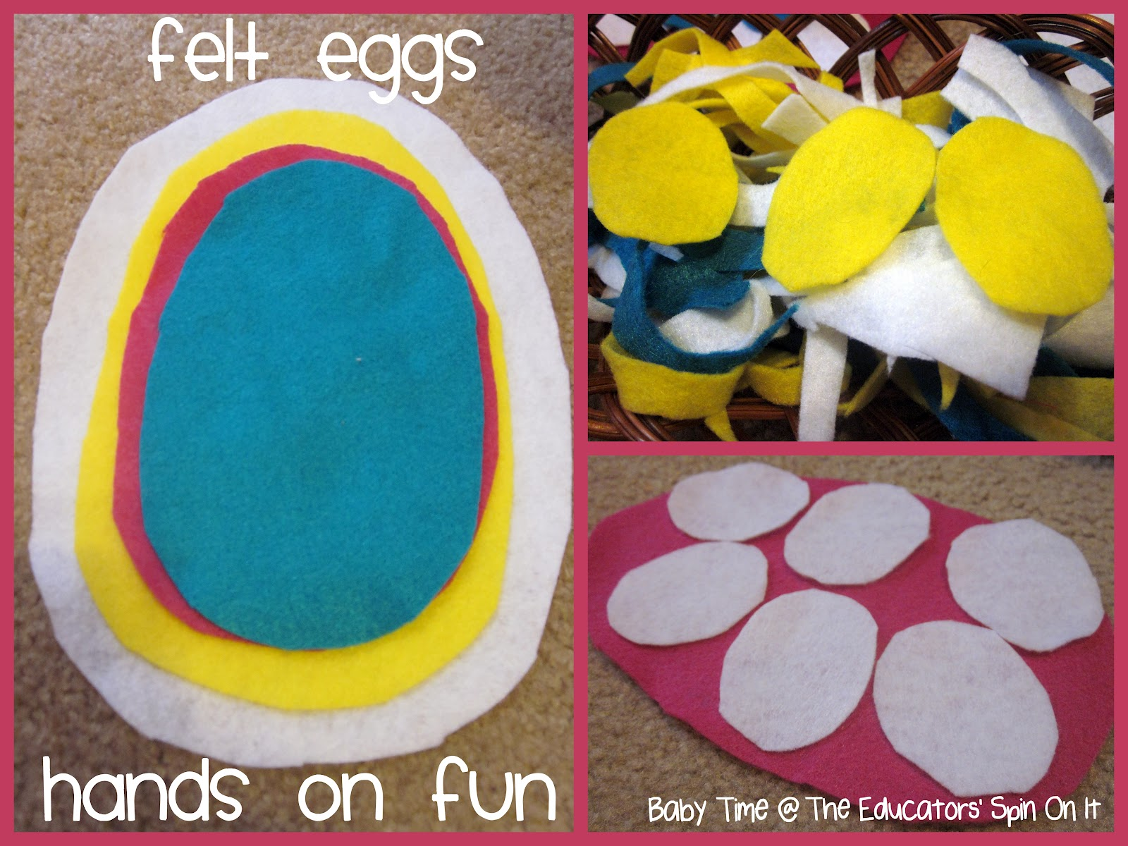 Eggs made from felt for toddler to play with for Easter Basket fun