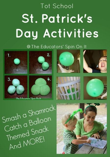 St. Patricks' day school activities for smaller kids like making playdough shamrocks from green playdough, catching a green balloon in a basket, and coloring st. patty's day coloring sheets.