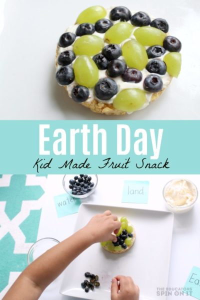 Earth Day Kid Made Fruit Snack with Rice Cake, Blueberries and Grapes
