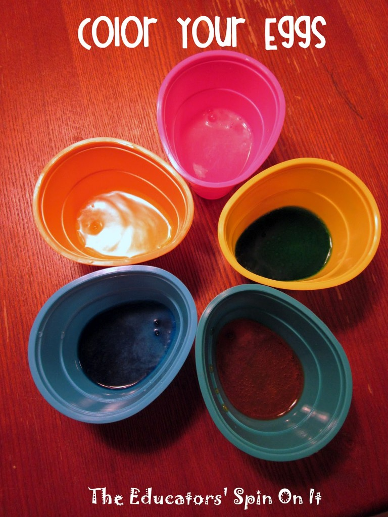 dyeing easter eggs with kids