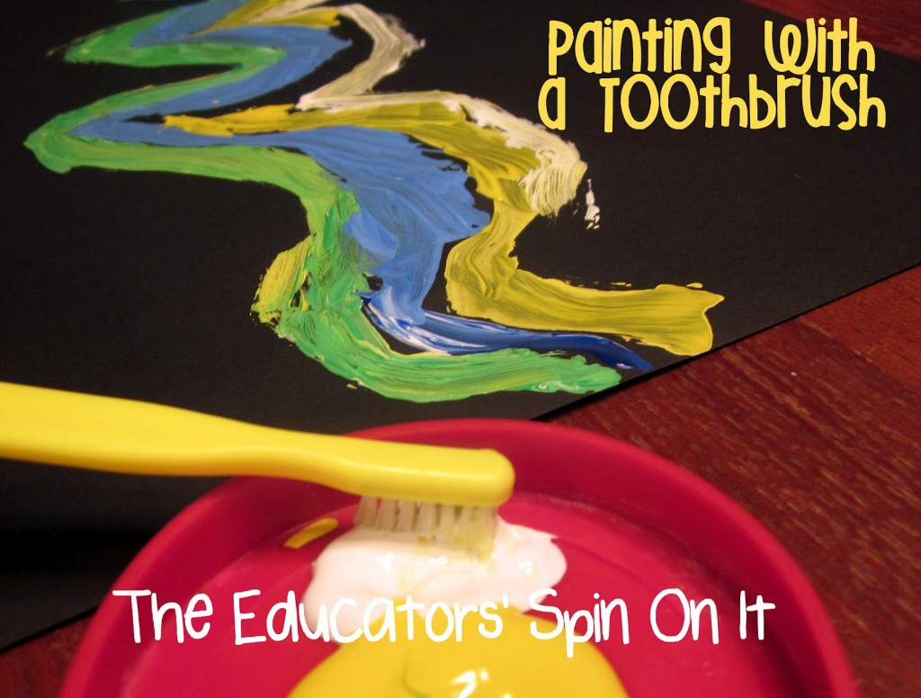 Painting Northern LIghts with Kids using Toothbrush