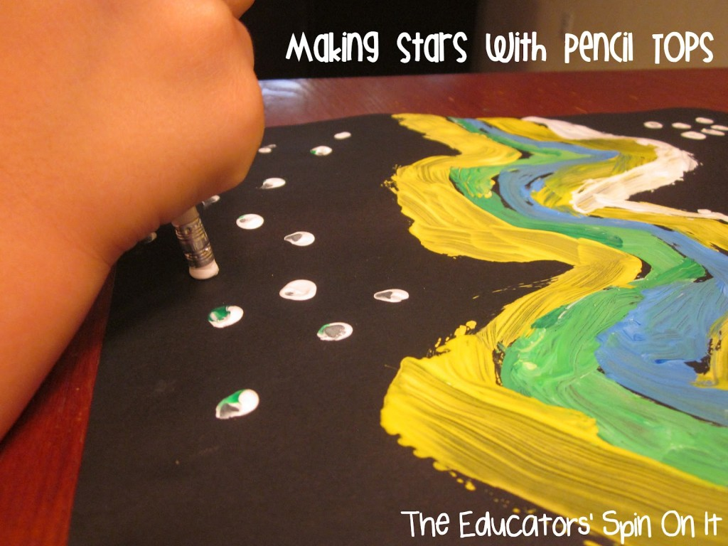 Painting Northern LIghts with Kids using recycled items