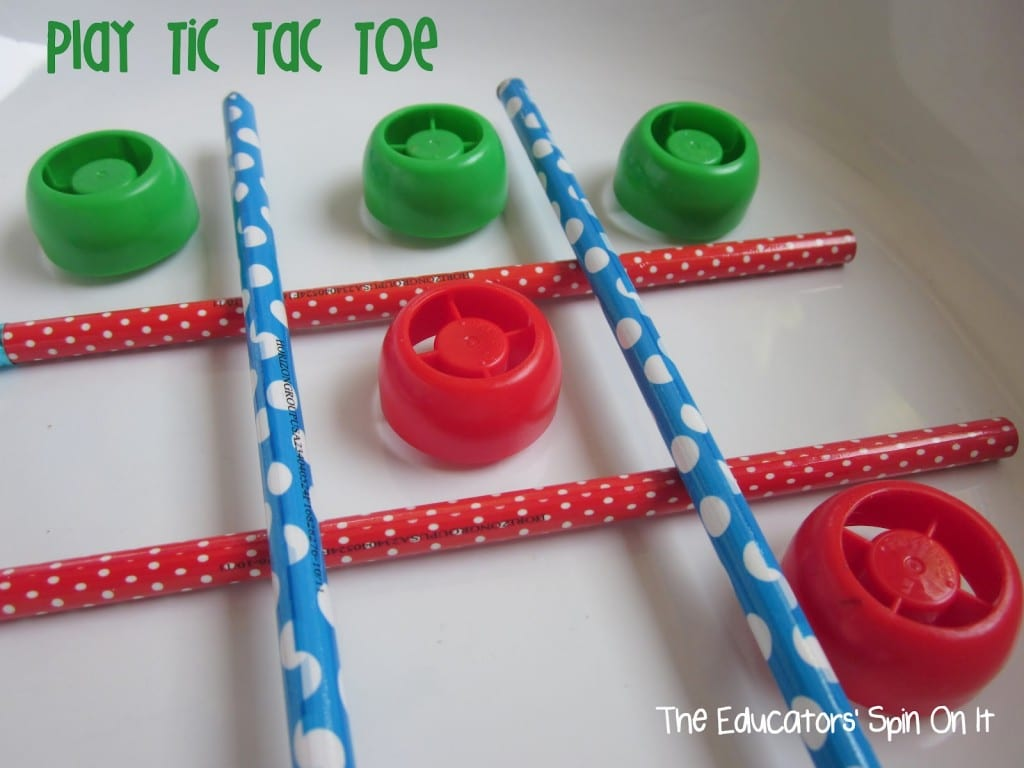 Tic Tac Toe with lids! 8 Activities for Kids with Lids!
