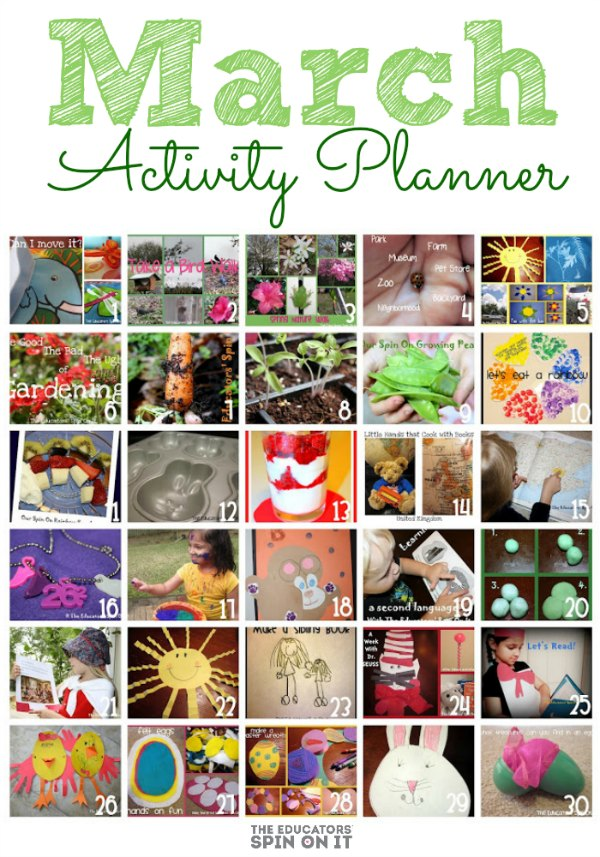 March Activity Planner for Kids from The Educators' Spin On It