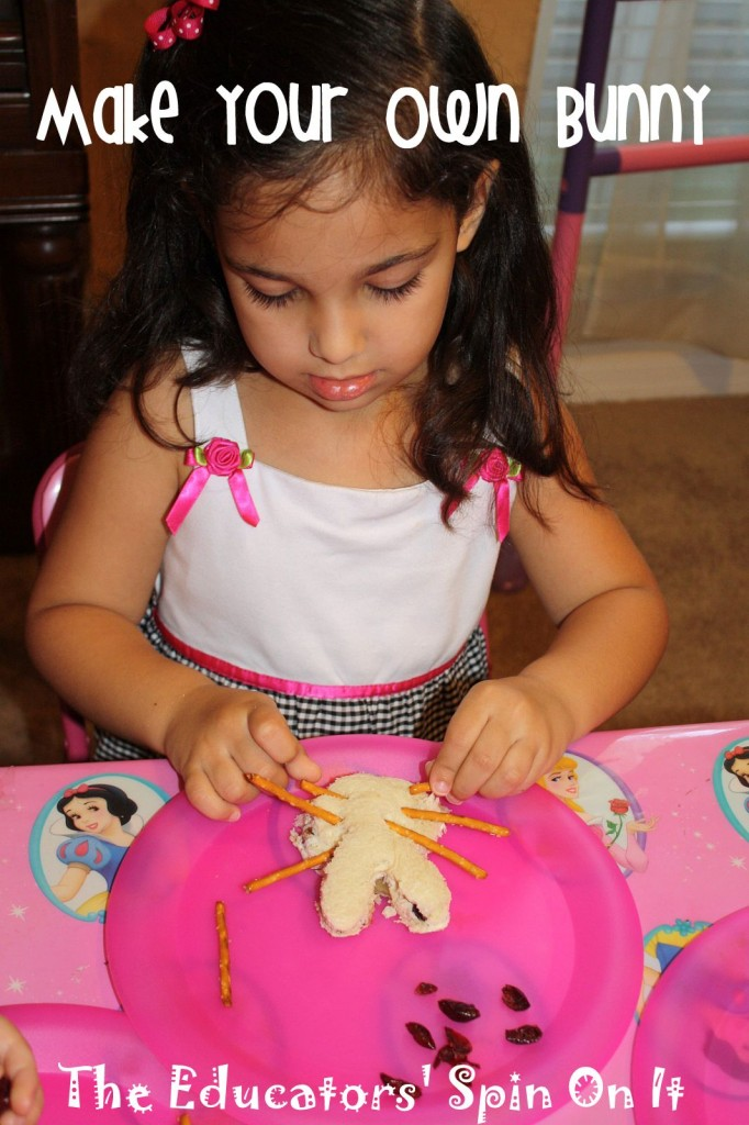 child making bunny sandwich for Easter with pretzel whiskers