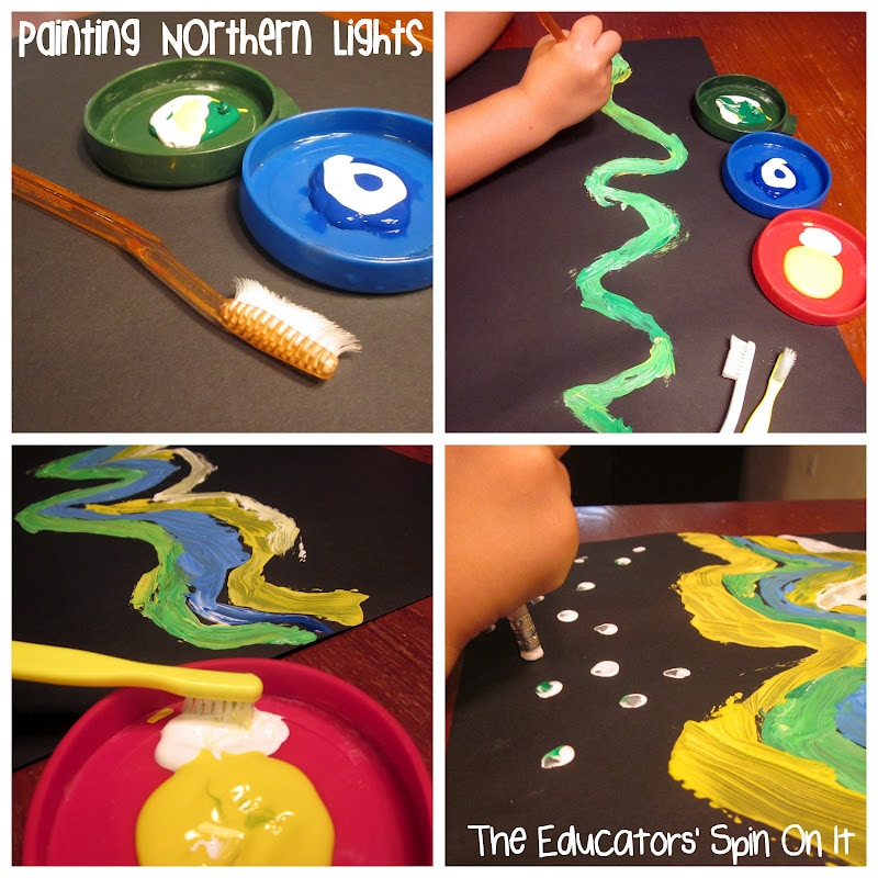 Painting Northern Lights with Kids with music
