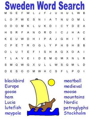sweden word search from dltk kidscom