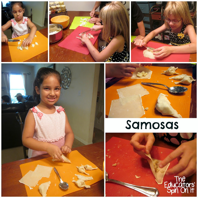 Indian Recipes for Kids to make as they learn about the world with food. This Recipe Features delicious Indian samosas.