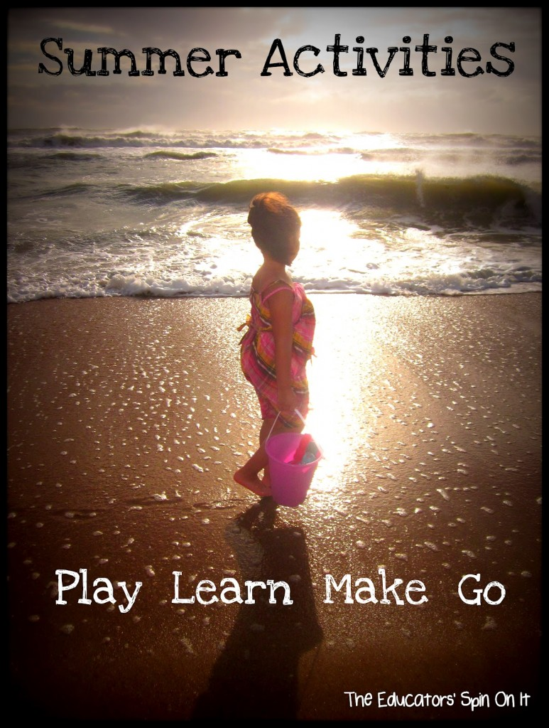 Child walking on beach with text play learn make go