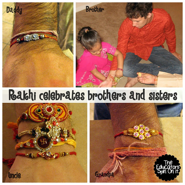 Sister tying on rakhi bracelet on brother for Raksha Bandhand.