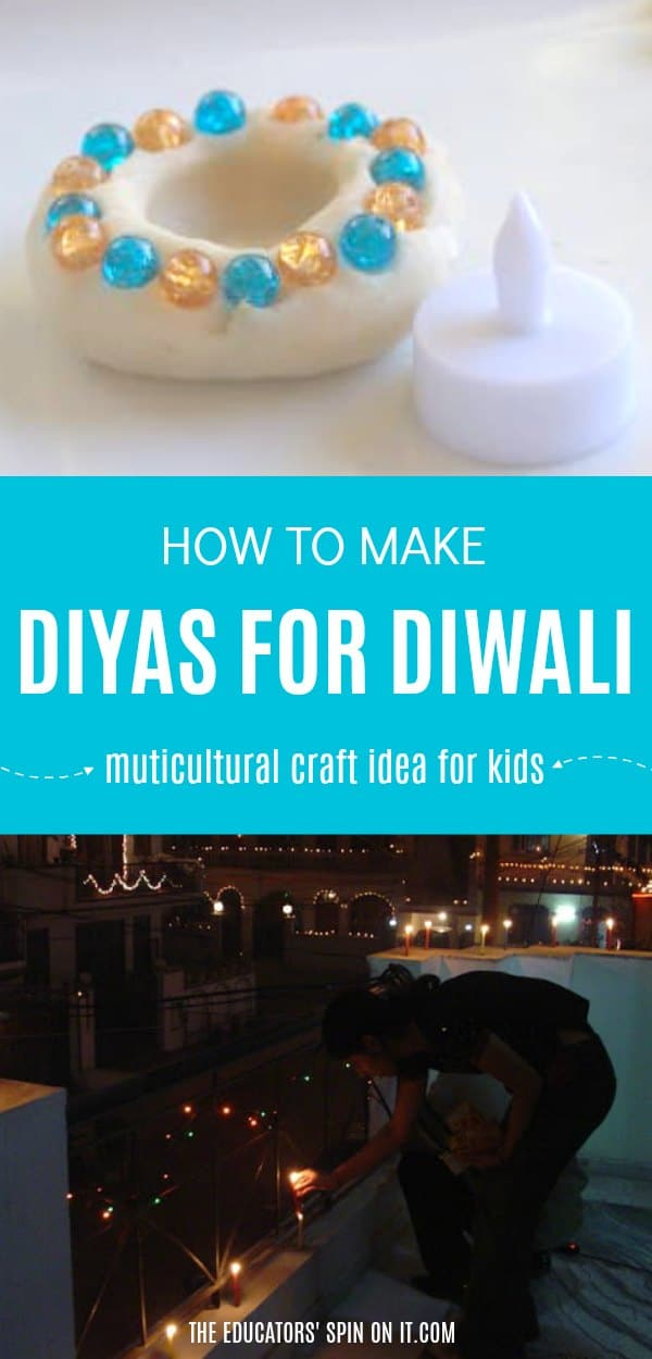 Diya made with beads and cardamom playdough for Diwali