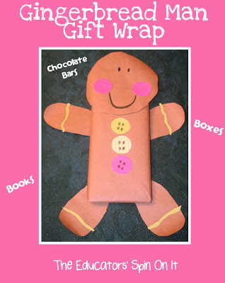 Gingerbread Man Gift Wrap Idea perfect for chocolate bars, Books, boxes and more!