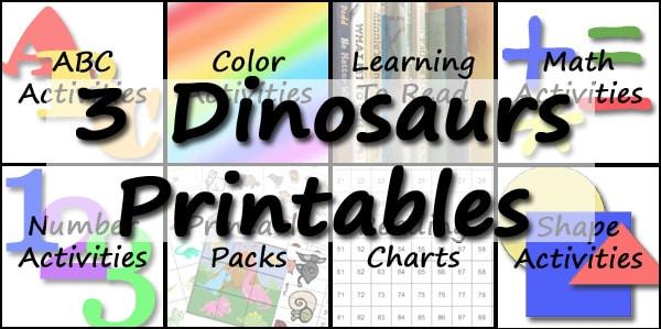 3 Dinosaurs - Printables
