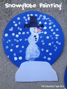 Snowglobe Painting Craft for Kids #eduspin