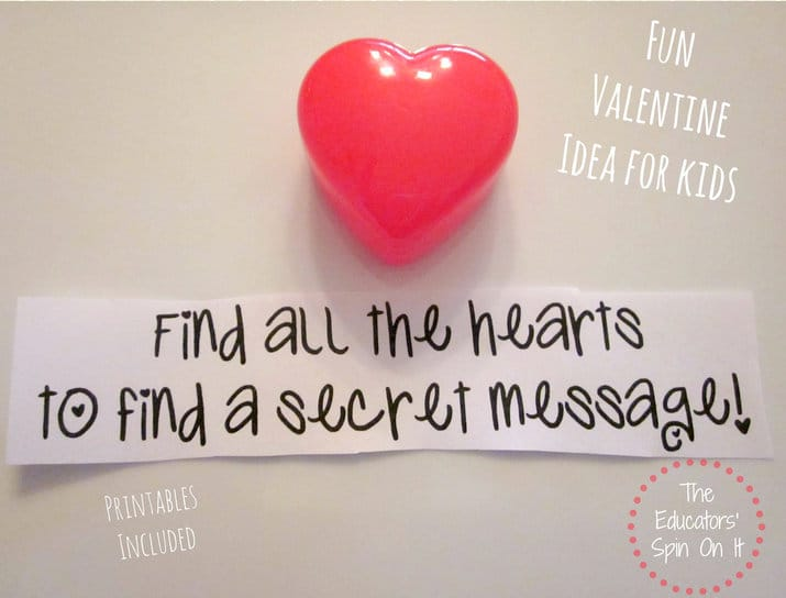 Secret Message Hearts for Kids Scavenger Hunt