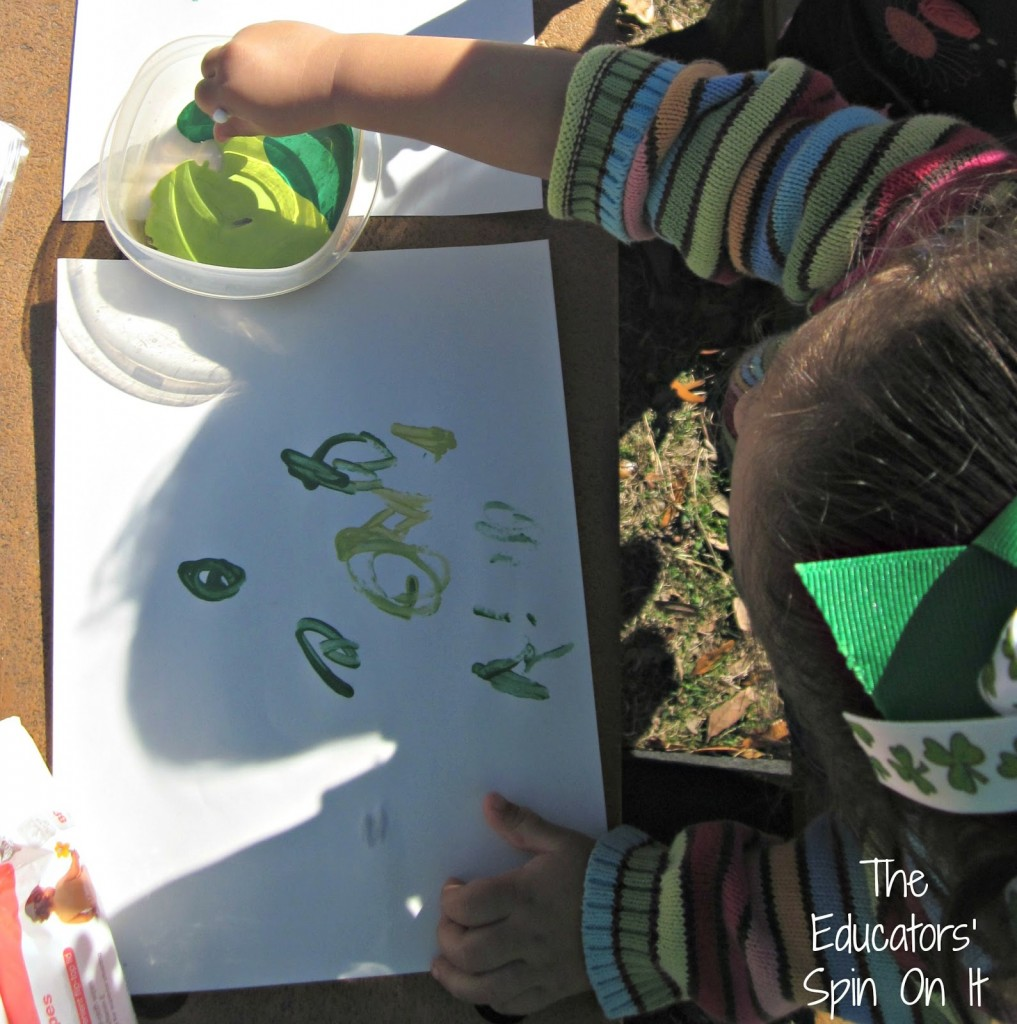 Green Painting with various greens for St. Patrick's Day