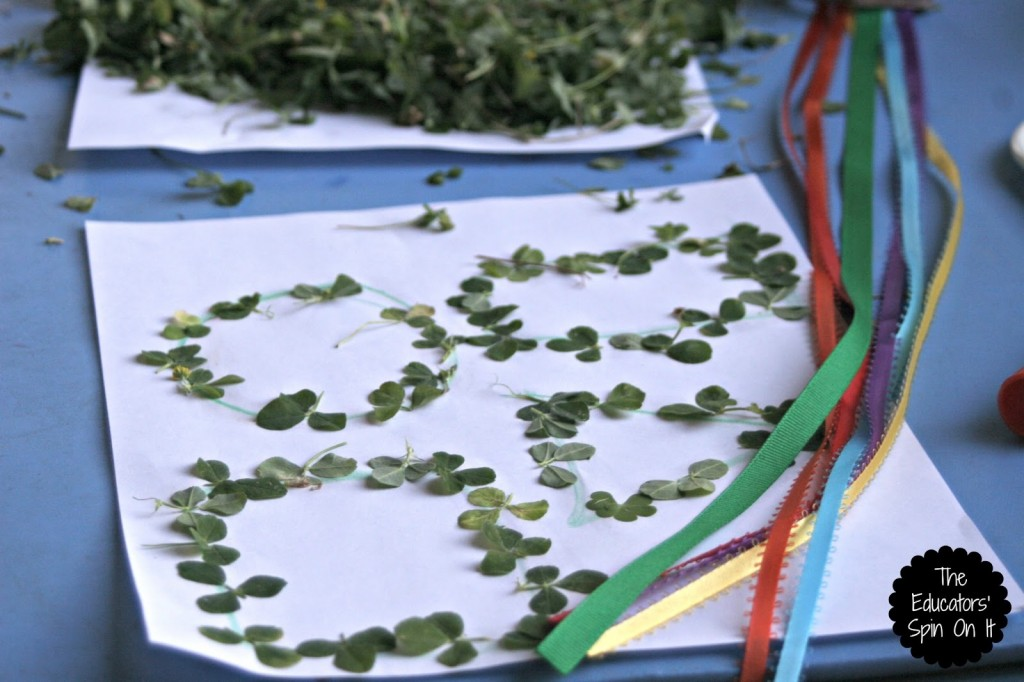 Create shapes with shamrocks for St. Patrick's Day fun with Kids outdoors