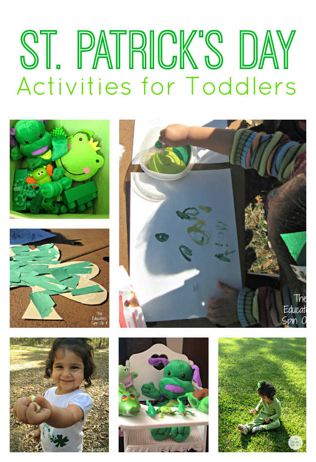 St. Patrick's Day Activities for Toddlers and babies that includes making a green paper shamrock, picking shamrocks, finger painting with green paints, and a green bin of toys.