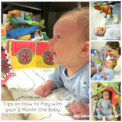 Tips on HOw to play with your 2 Month old Baby from the Educators' Spin On It