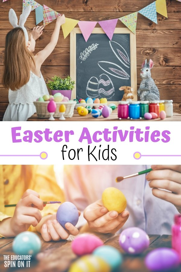 Child decorating for Easter with Bunting and Colorful Eggs.