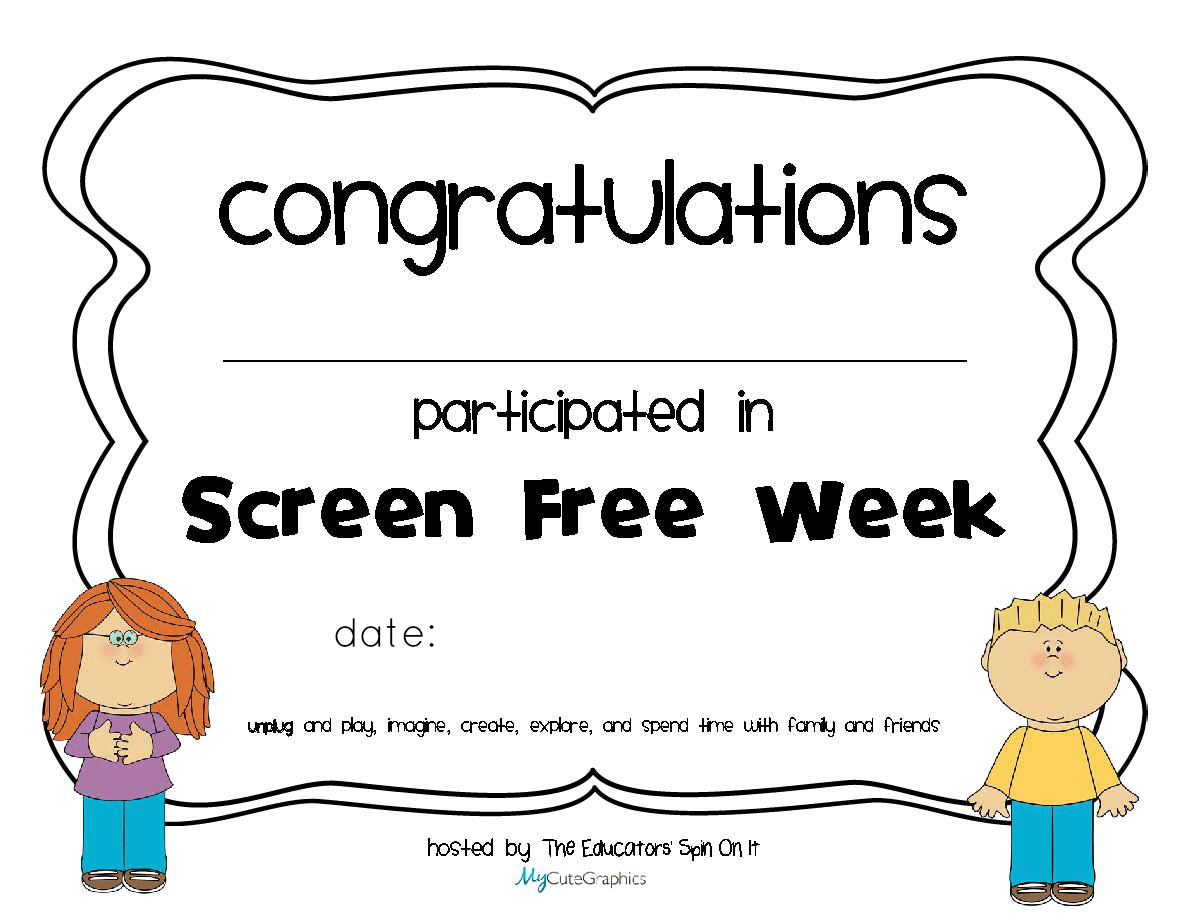 Screen Free Certificate of Participation