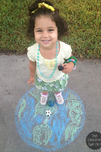 earth day activity with sidewalk chalk