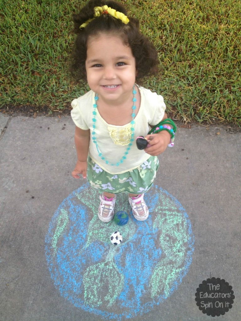 earth day activity with sidewalk chalk