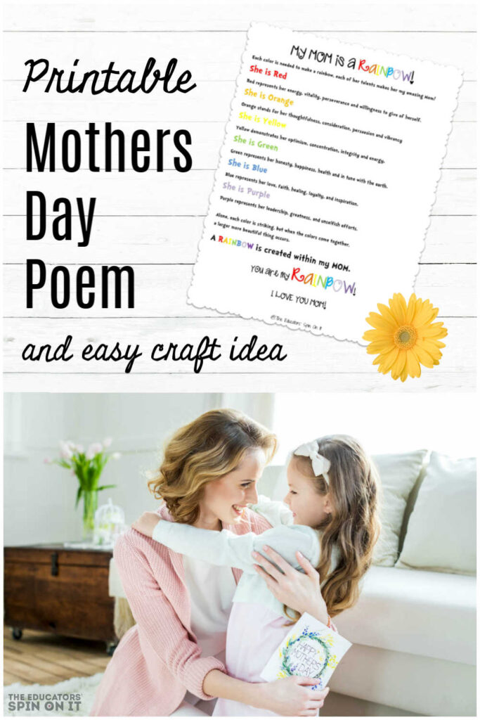 graphic relating to Printable Mothers Day Poems known as Printable Moms Working day Poem and Craft - The Educators Spin