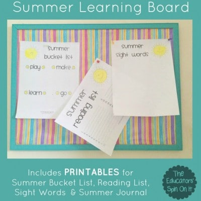 How to Make a Summer Learning Board {Includes Printables}