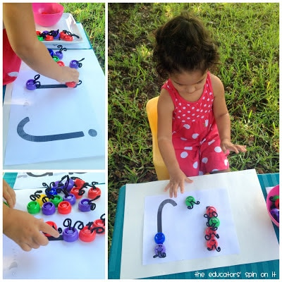 Letter Activity for Kids Using Lids from the Educators' Spin On It