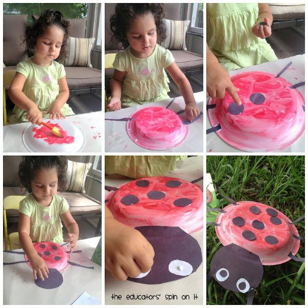 Child painting ladybug craft to go with book The Grouchy Ladybug