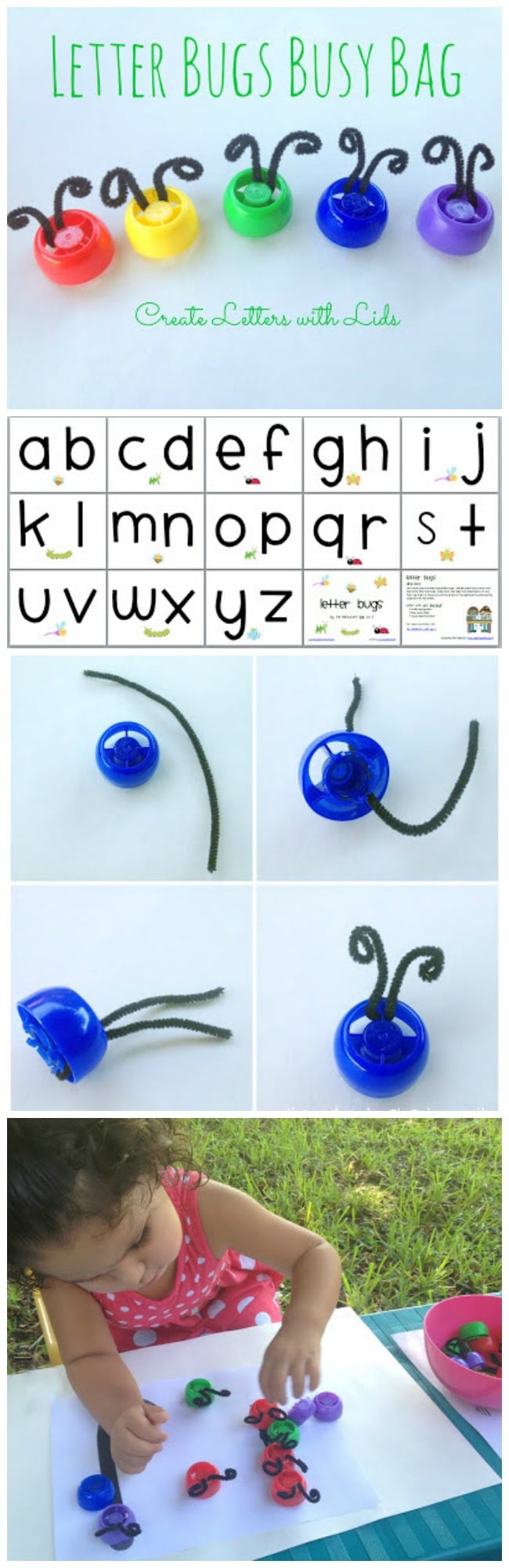Alphabet Activity for Kids using Recycled Lids and Printable