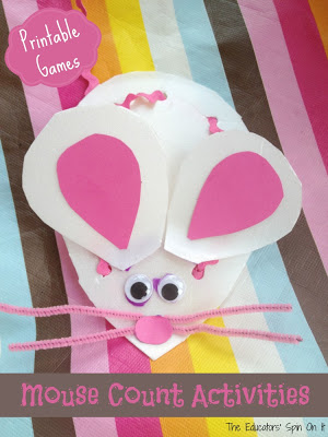 mouse count craft with recycled styrofoam, pink ribbon and pink paper