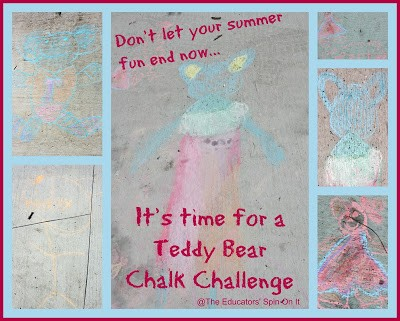 Need an open ended, multi age activity for afterschool? Now is the time for a Teddy Bear Chalk Challenge {After School Link Up}